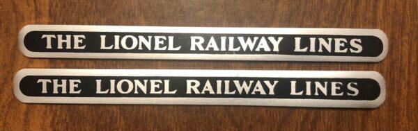 "Lionel 385T Tender Name Plates Nickel ""Pair"""