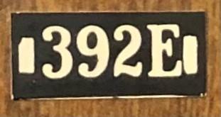 Lionel 393E Boiler Front Number Board